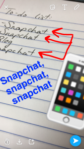 You can add content elements to your snaps, including text, drawings, emojis and geofilters.