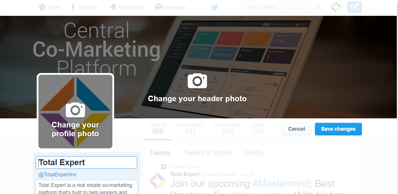 Edit your profile picture and set your header image.
